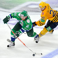 Thoresen playing for Salavat Yulaev in 2011 Gagarin Cup Final